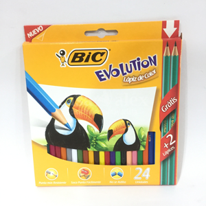 LAPIZ BIC COLOR X 24 LARGO EVOLUTION