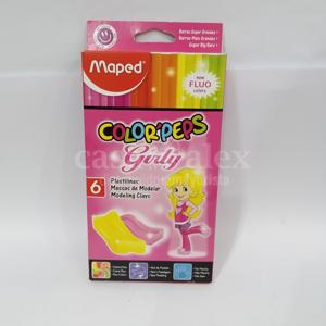 PLASTILINA MAPED COLORPEPS  X 6 GIRLY FLUO